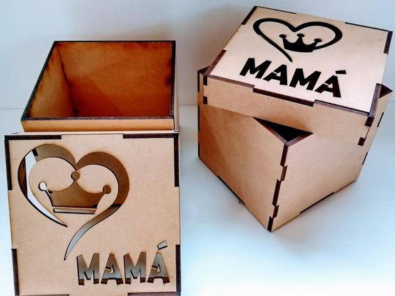 Caja 10x10 Con Tapa Calada Fibrofácil Día De La Madre X 1 Un