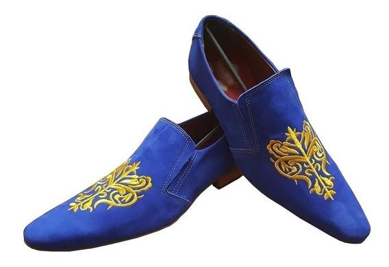 Sapato Couro Legitimo Azul Pronta Entrega Frete Grátis
