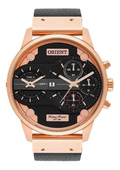Relógio Orient Masculino Duplo Analógico Caixa Rosê