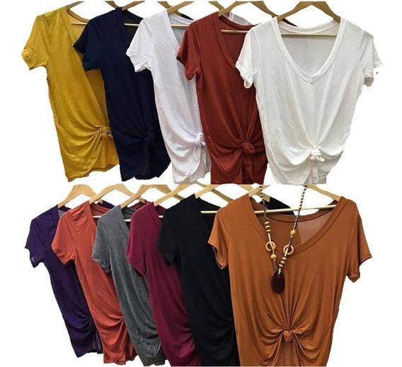 Kit C/4 Blusa T Shrt Camiseta Decotada Feminina Podrinha