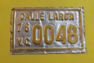 Antigua Patente Vehículo De Carga Año 1976, Escasa!!