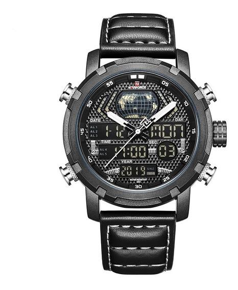 Relógio Masculino Naviforce 9160 Esportivo Pulseira Couro