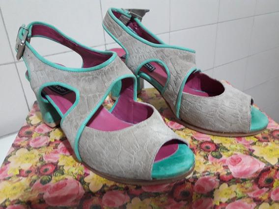 Sandalias Combinadas Cuero