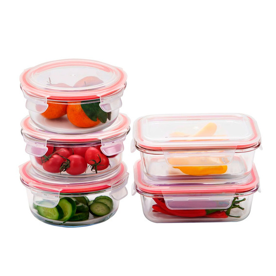 Set de 2 Recipientes Hermeticos Cuadrados con Tapa Naranja de 1,7 Litros BPA Free.
