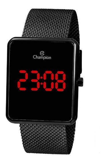 Relógio Champion Unissex Digital Led Ch40080d Preto Quadrado