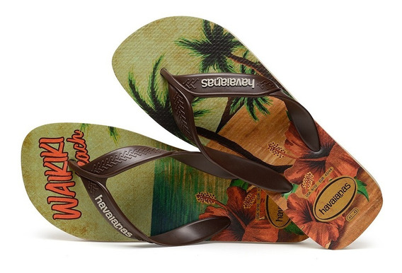 Sandálias Havaianas - Chinelo Masculino Surf Café/bege Palha