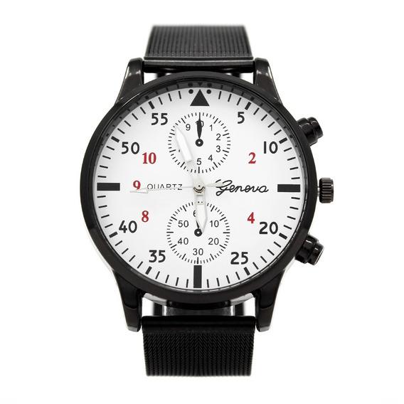 Reloj Hombre Cartesia Negro Blanco Geneva