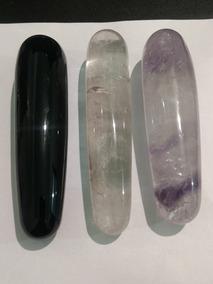 3 Massageadores De Cristal Ametista Obsidiana Negra 14,5cm