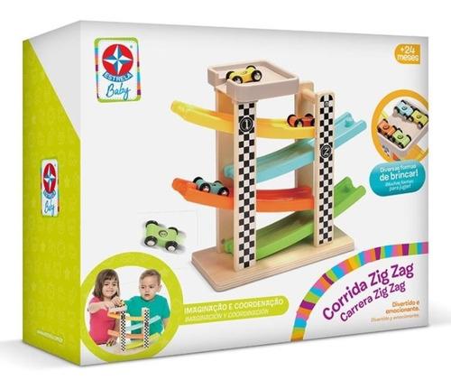 Brinquedo Pista Corrida Zig Zag Linha Madeira Estrela Baby