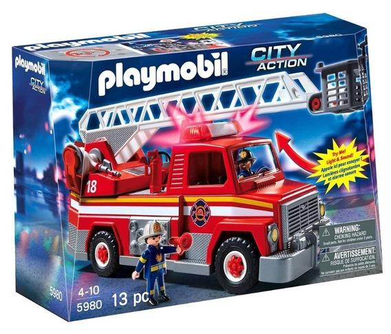 Brinquedo Playmobil City Action Caminhão Bombeiro C/ Som Luz