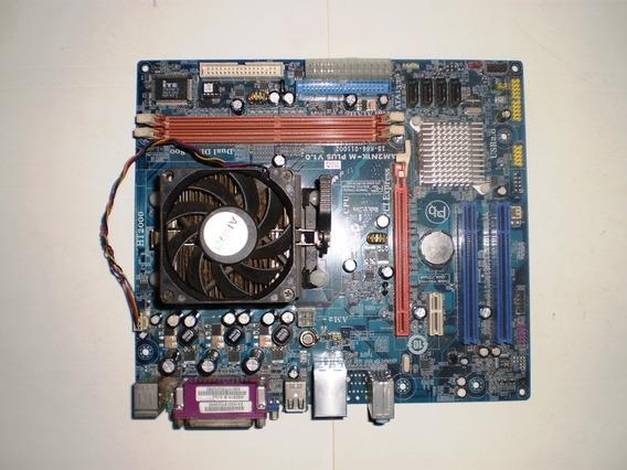 Placa Mãe Am2n1k-m Plus + Espelho + Processador + Cooler