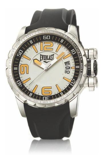 Relógio Pulso Everlast Masculino Aço Silicone Preto E39530