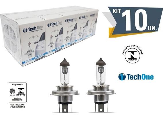 Kit 10 Lampada Halogena H4 3000k 12v 55/60w Techone