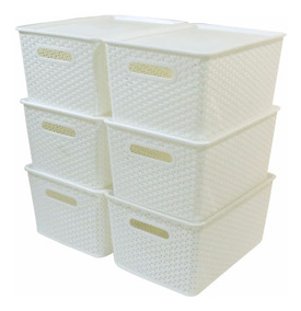 Kit 5 Caixas Organizadoras Rattan Empilhável Grande Branca