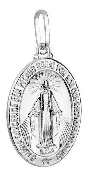 Medalha Nossa Senhora Das Graças Florenzza Em Prata 950
