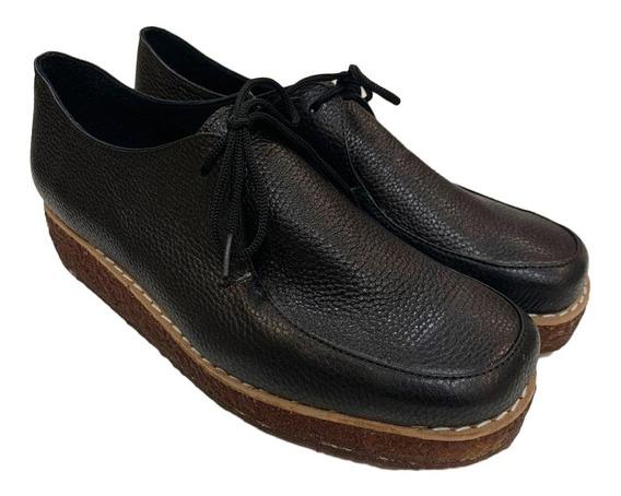 Zapato Mujer Mocasín Oxford Plataforma Cuero Nautico Floki