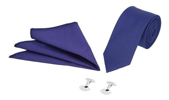 Set De Corbata, Mancuernillas Y Pañuelo Azul Marino