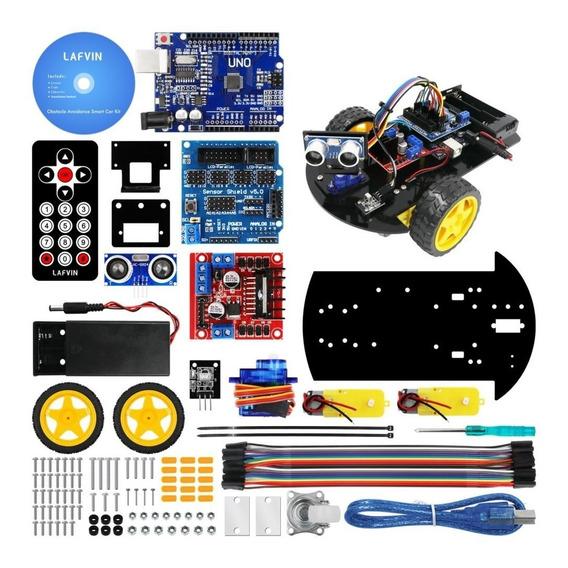 Kit Arduino Robótica Avançado Com Chassi Roda 2wd + Dvd Dado