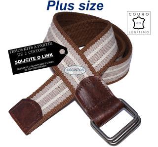 Cinto Plus Size Masculino Lona Premium Couro 4cm L45 Ck