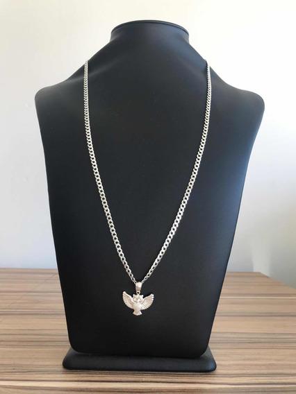 Grumet Diamantada 70cm Escama Prata 925 Pingente E Coruja