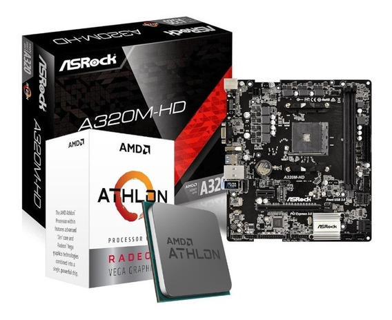 Kit Processador Amd Athlon 3000g Asrock A320m-hd