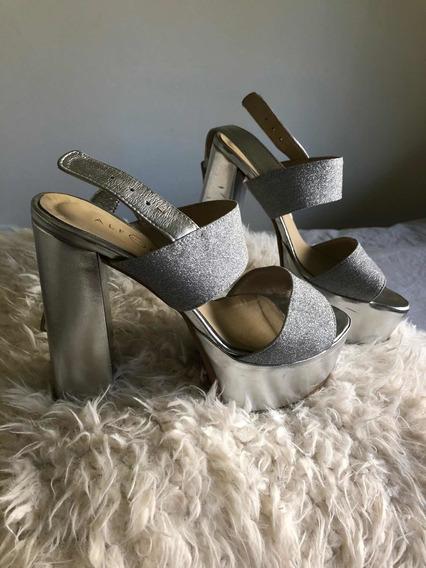 Zapatos Plateados De Fiesta. Alfonsa(talle38, Un Solo Uso)