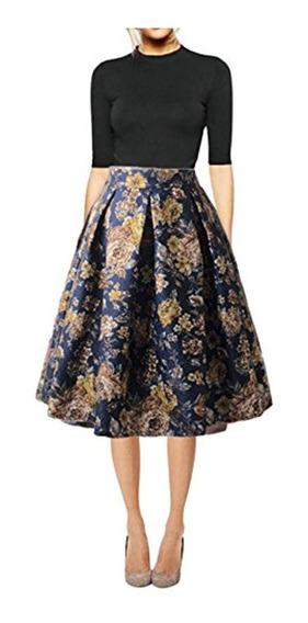 Hanlolo 50s 60s Faldas Vintage Casual Plisado