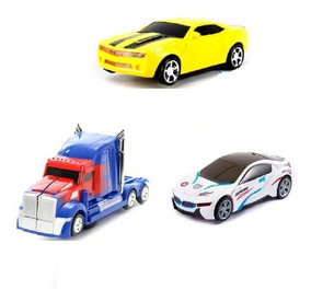 Kit Com 3 Carrinhos Vira Robô Luz Som Transformers