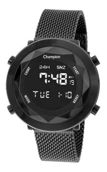 Relógio De Pulso Champion Digital Preto Tela De Vidro