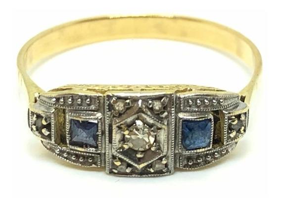 Anillo Art Decó Oro 18k Diamantes Zafiros (a449)