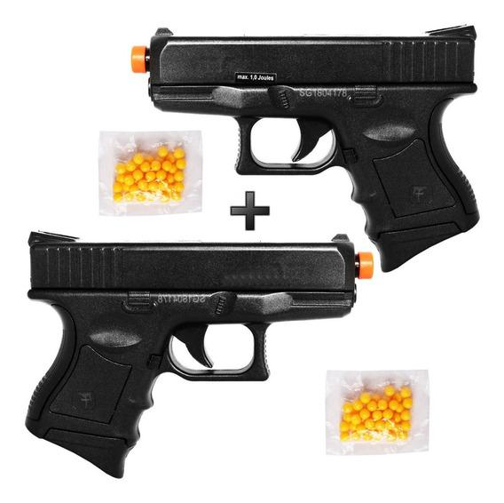 2x Pistola Barata De Airsoft Spring Saigo 27 Glock Baby +bbs