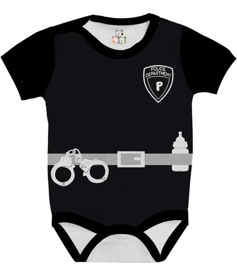Body Bodies Camiseta Baby Bebê Personalizado Fantasia Traje Policial Fbi Cia Tira