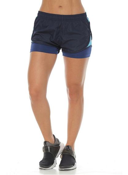 Pantaloneta Running Con Fit Interior Azul Oscuro Para Mujer