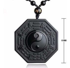 Colar Yin-yang Cordão Pingente Pedra Obsidiana I Ching