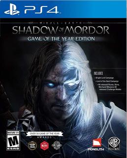 Middle Earth Shadow Of Mordor Goty (nuevo Y Sellado) - Ps4