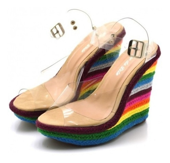 Salto Colorido Detalhes Transparentes Moda Feminina Barata