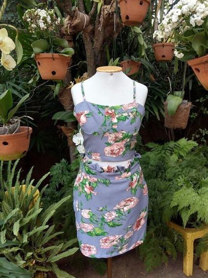 Conjunto Cropped E Saia Floral Lindo Moda Novela Tendência