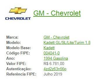 1993/1994 Chevrolet Kadett - Rodando - Torro Por R$ 5.500,00