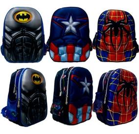 Mochila Heróis Pequena Batman, Homem Aranha, Capitão America
