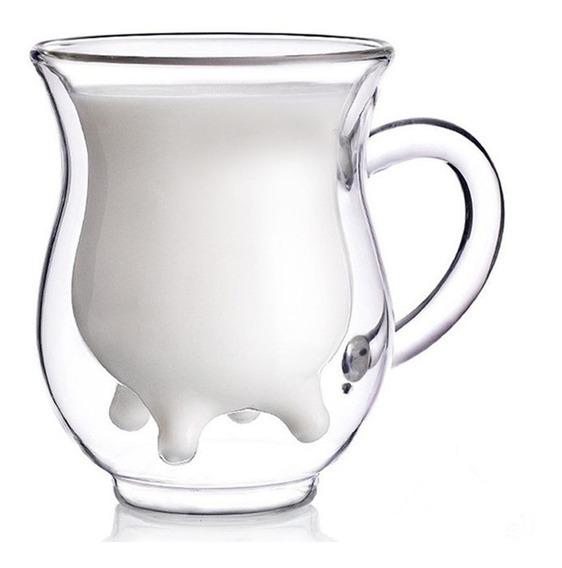 Envío Gratis Taza Doble Cristal Ubre Vaca 250ml Juego 2pzs