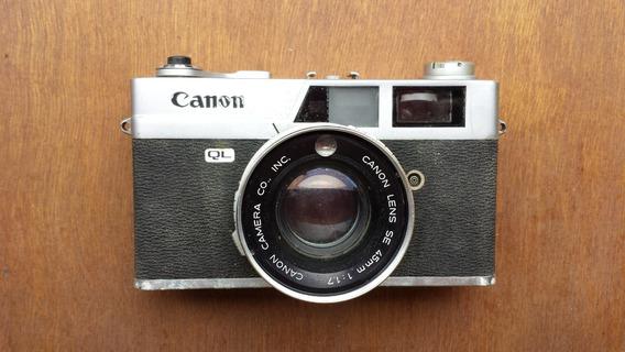 Camera Canon Canonet Ql17 Silver Com Case E Brinde Flash