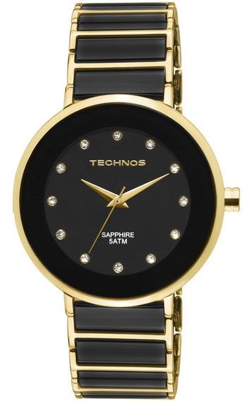 Relógio Technos Feminino Preto Cerâmica Vidro Safira