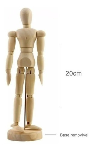 1 X Boneco Articulado Madeira Desenho Manequim 20 Cm Artes