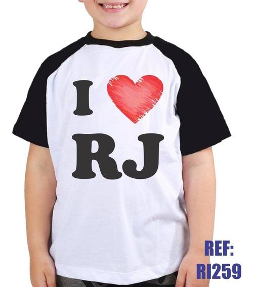 Camisa Raglan Infantil I Love Rj Eu Amo Rio De Janeiro Kids