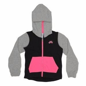 Jaqueta Com Capuz Ziper Cinza Preta Rosa Nike Kids