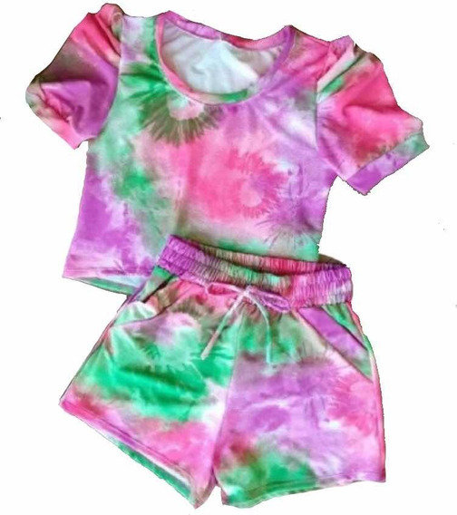 Conjunto Tendência Tie Dye Tay Day Blusa Princesa Shorts