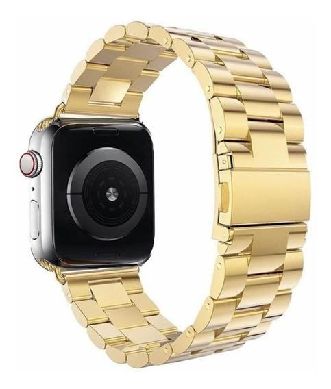 Correa D Eslabones De Lujo Gold Apple Watch Serie 4 + Mica