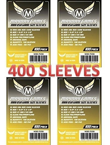 Imagem 1 de 3 de 4 Pacotes Mayday Mini Usa Card Sleeves (100pack) - 41mmx63mm
