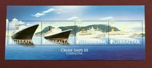 2007 Barcos Cruceros- Gibraltar (bloque) Mnh