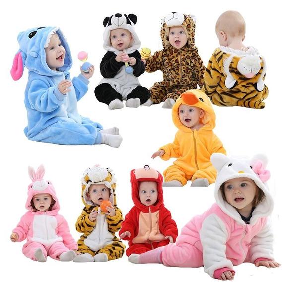 Macacão Pijama Infantil Bichinhos Fofo Bebê Inverno Fantasia